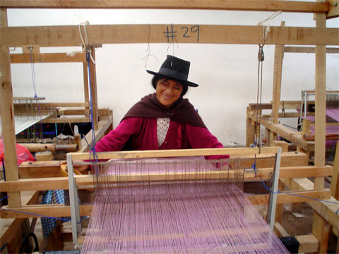 photo of woman weaving in peru